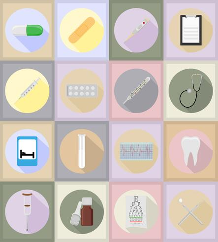 Objetos médicos y equipo iconos ilustración plana