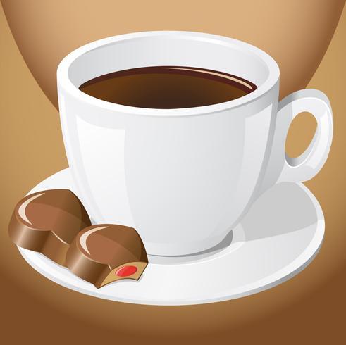 kopje koffie met chocoladesuikergoed vector