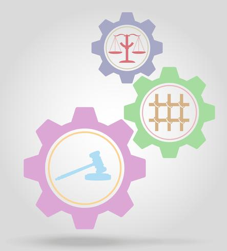 Ilustración de vector de concepto de mecanismo de engranaje de justicia