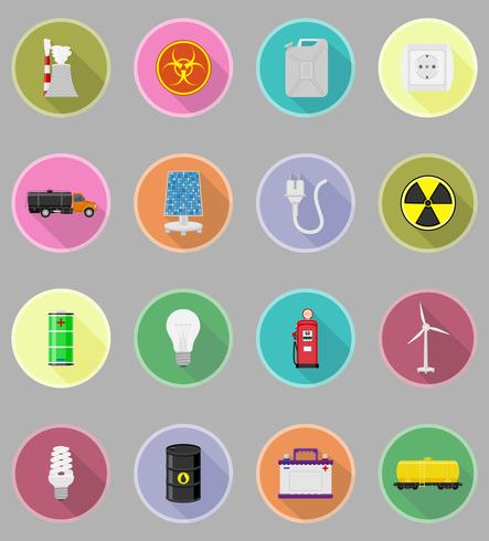 poder e energia plana ícones ícones planas ilustração vetorial