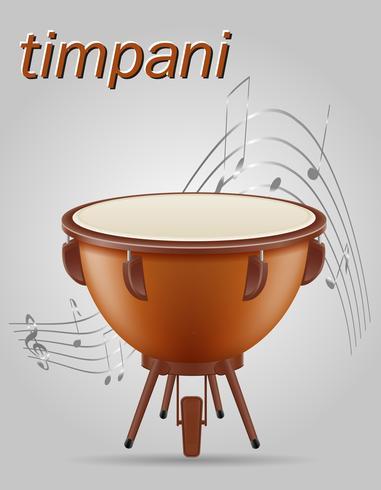 Instrumentos musicales de timbales tambor ilustración vectorial de stock vector