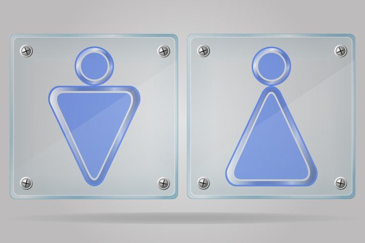 transparent skylt man och kvinnor toaletter på plattan vektor illustration