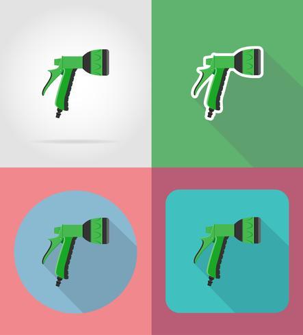 gardening watering gun flat icons vector illustration