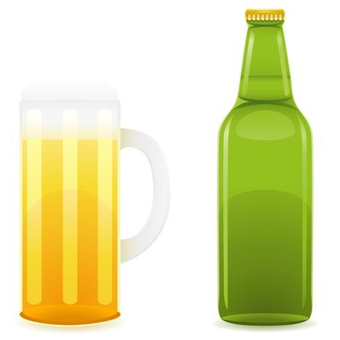garrafa de cerveja e ilustração vetorial de vidro