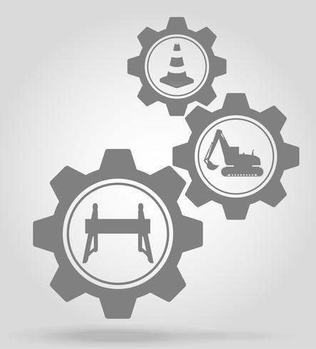 obras rodoviárias mecanismo de engrenagem conceito ilustração em vetor