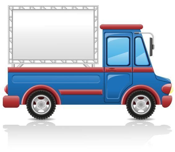 coche con una ilustración de vector de cartelera