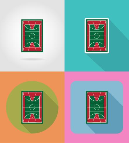 basketball court flat icons vector illustration