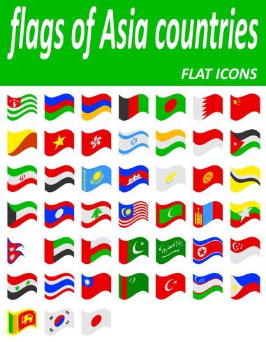 banderas de los países de asia iconos planos vector illustration