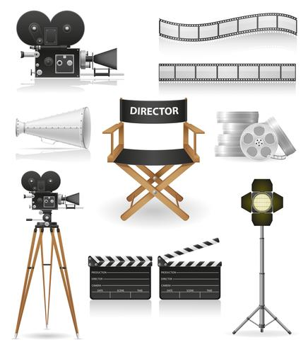Set Icons Kinematographie Kino und Film-Vektor-Illustration
