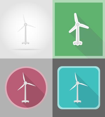 Ilustración de vector de iconos planos de turbina de viento