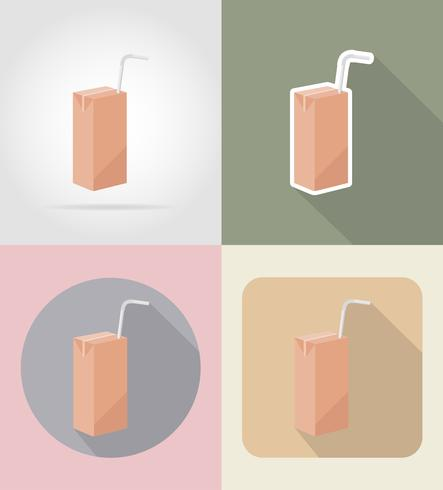 Jugo envasado bebida y objetos planos iconos vector illustration