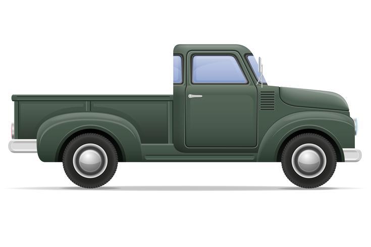 old retro car pickup vector illustration