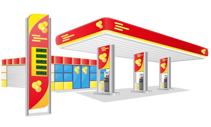 Ilustración de vector de estación de gasolina de coche