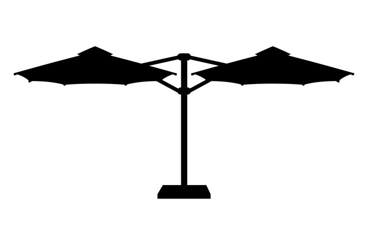 large sun umbrella for bars and cafes on the terrace or the beach black outline silhouette vector illustration