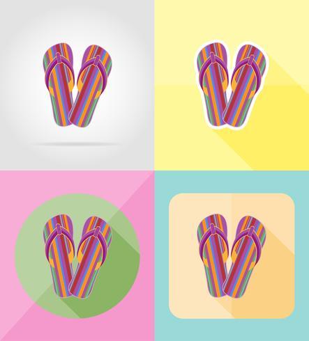 strand flip flops plat pictogrammen vector illustratie