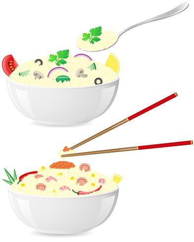 riz italien et asiatique avec des légumes vector illustration
