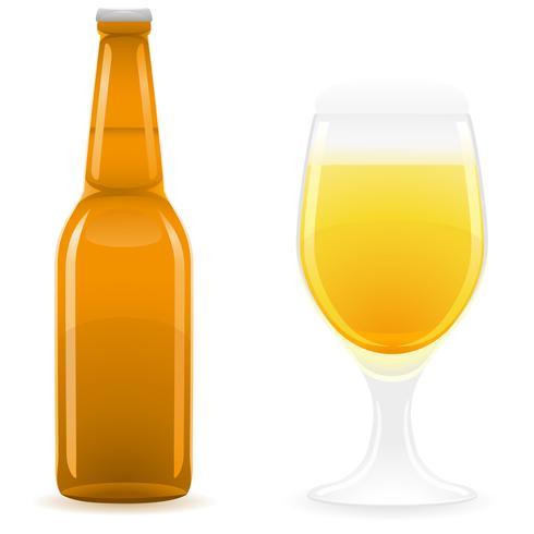 beer bottle and glass vector illustration