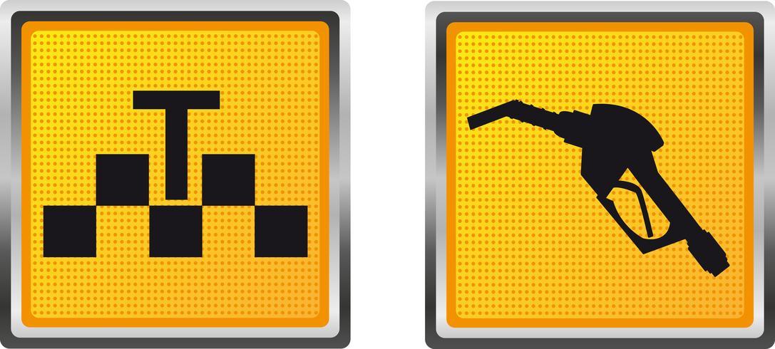 iconos de taxi y recarga de combustible para la ilustración de vector de diseño