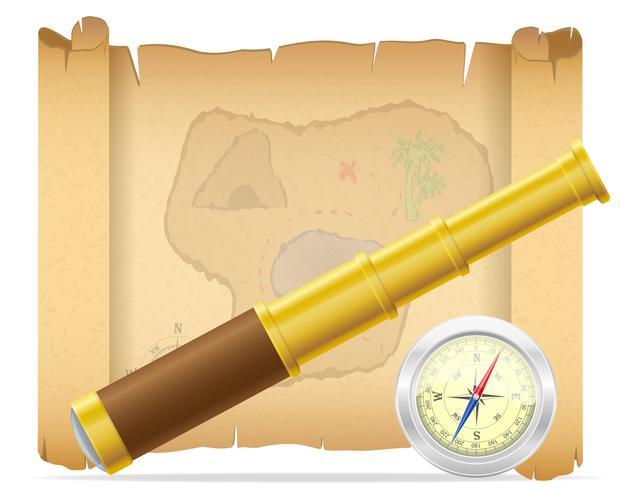 Mapa del tesoro pirata y telescopio con ilustración vectorial brújula vector