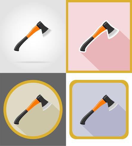 bijl reparatie en bouwgereedschap plat pictogrammen vector illustratie