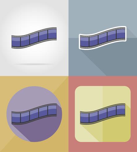 Película película iconos planos vector illustration