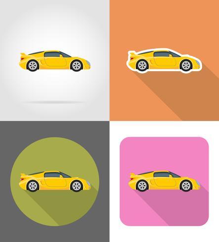 sportbil platt ikoner vektor illustration