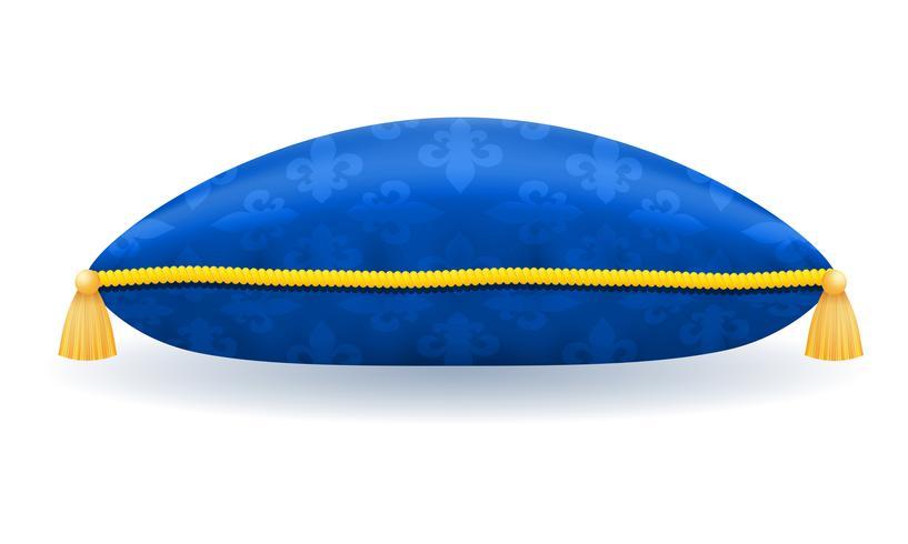 oreiller de satin bleu avec illustration vectorielle de corde et glands or