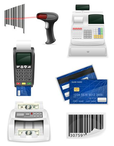 handel bank apparatuur voor een winkel pictogrammen voorraad vectorillustratie instellen