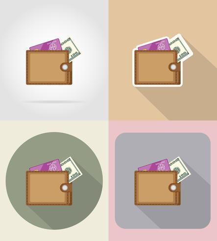 monedero plano iconos vector illustration
