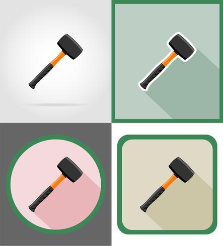 Reparación de martillo y herramientas de construcción iconos planos vector ilustración