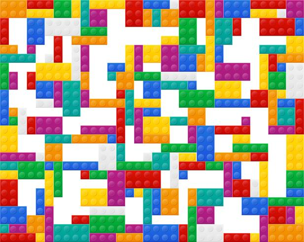 bakgrund av element i plastkonstruktionen topp vy vektor illustration
