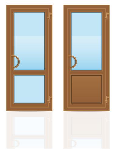 brun plast genomskinliga dörrar vektor illustration