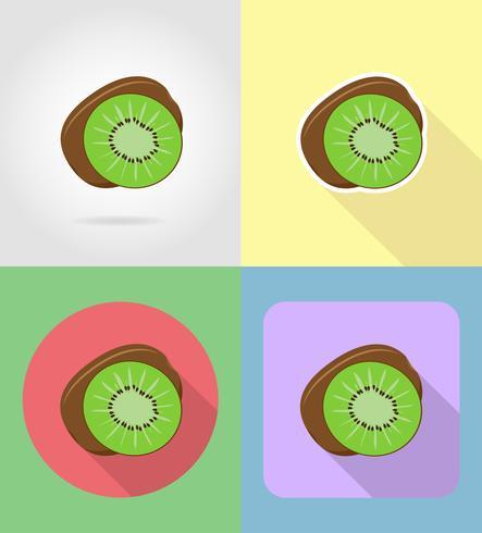 Kiwi frutas planas set iconos con la ilustración de vector de sombra