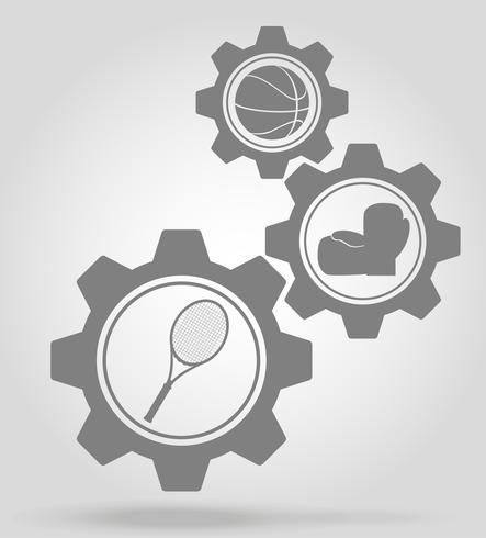 illustrazione di vettore di concetto di meccanismo di ingranaggio di sport