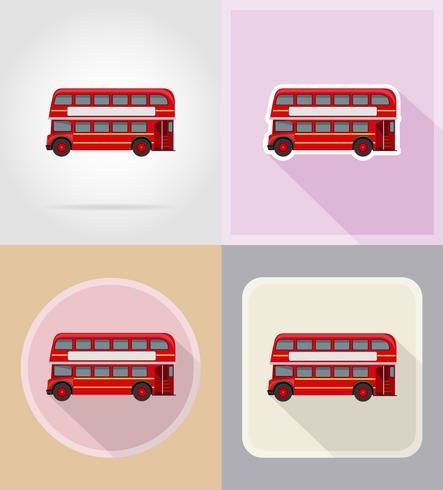 ilustração em vetor ícones antigos ônibus retrô plana