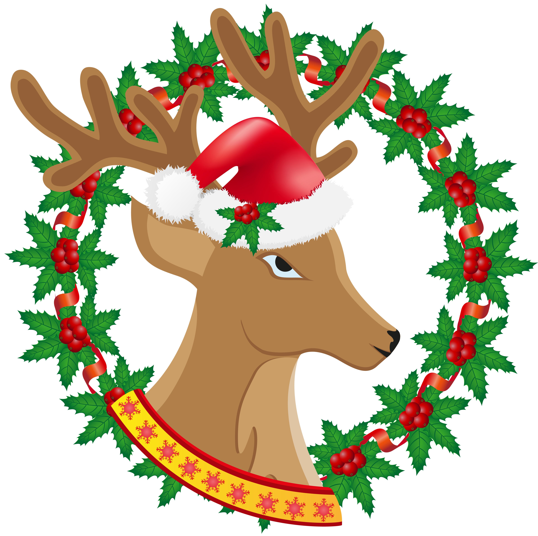 christmas deer wreath of holly berries vector illustration ...