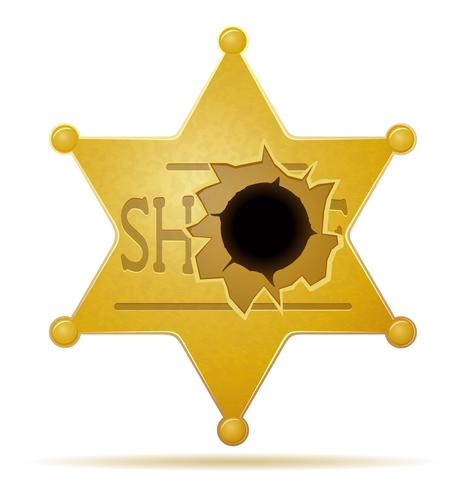 sheriff star with a bullet hole vector illustration