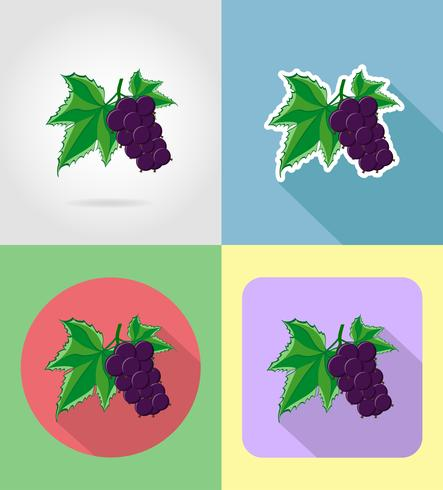 currant fruits flat set icons with the shadow vector illustration