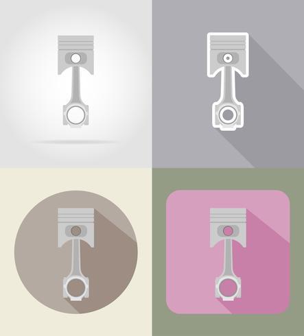 bil kolv platt ikoner vektor illustration