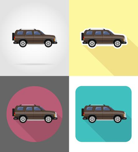 SUV auto plat pictogrammen vector illustratie