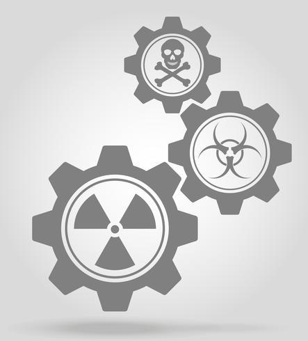 Ilustración de vector de concepto de mecanismo de engranaje de peligro