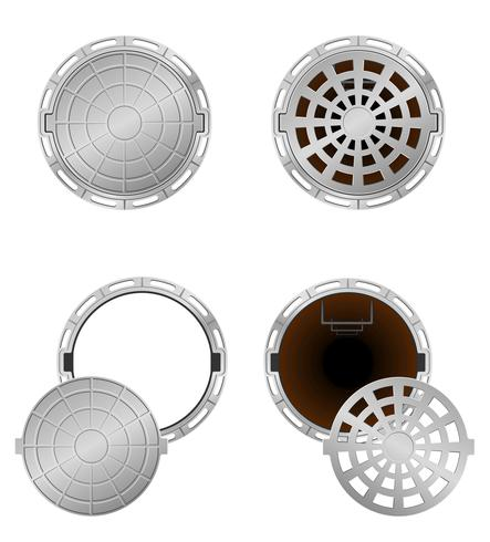 sewer pit with a hatch vector illustration