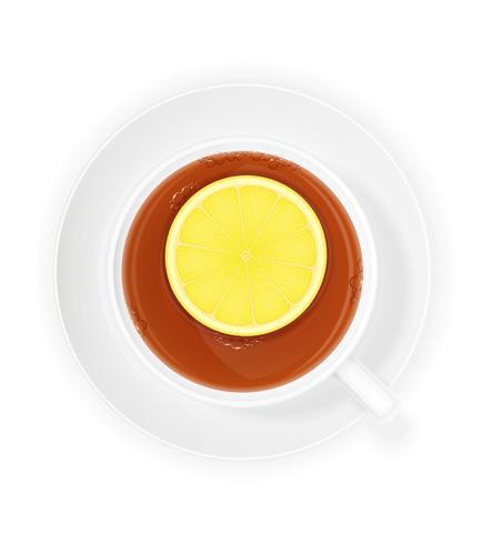 Porzellantasse tee mit Zitronenvektorillustration