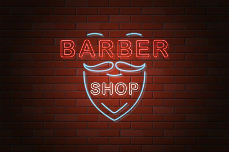 gloeiende neon uithangbord Kapper winkel vectorillustratie vector