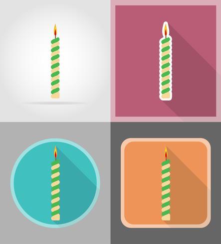ljus för födelsedagstårta platta ikoner vektor illustration