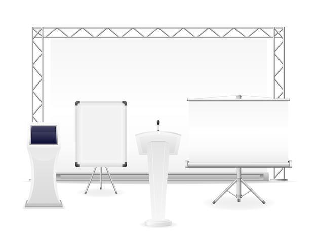 weißer Ausstellungskomplex für die Präsentations- oder Workshop-Vektorillustration