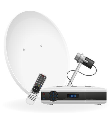 ilustração em vetor receptor digital via satélite