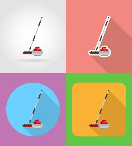 balai et pierre pour le curling plat icônes vector illustration