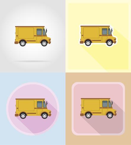 gammal retro bil pickup platt ikoner vektor illustration isolerad