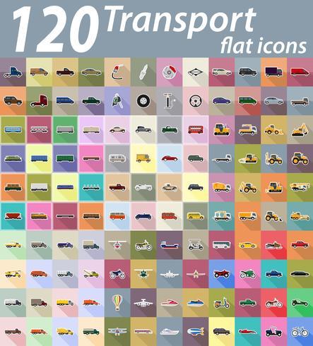 Transport flache Ikonen-Vektor-Illustration